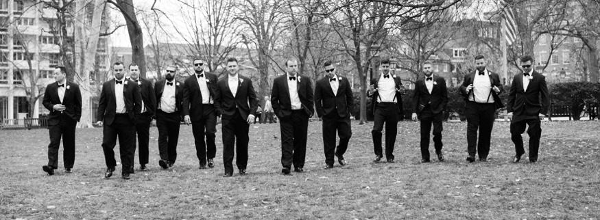 Groomsmen at Washington Square park before Ballroom at the Ben wedding.