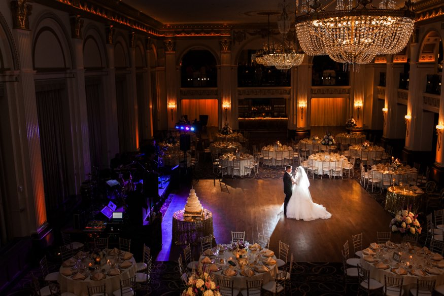 Bride and groom first dance at Ballroom at the Ben wedding in Philadelphia.