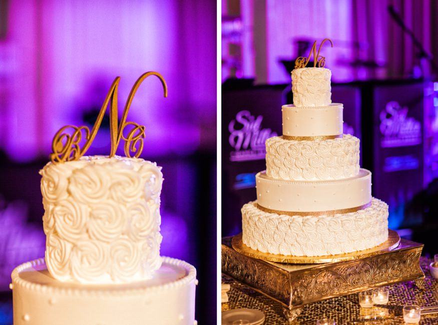 Cake details from Ballroom at the Ben wedding.