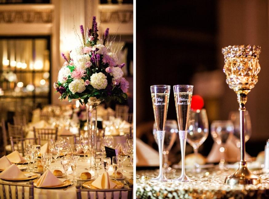 Table details from Ballroom at the Ben wedding in Philadelphia.