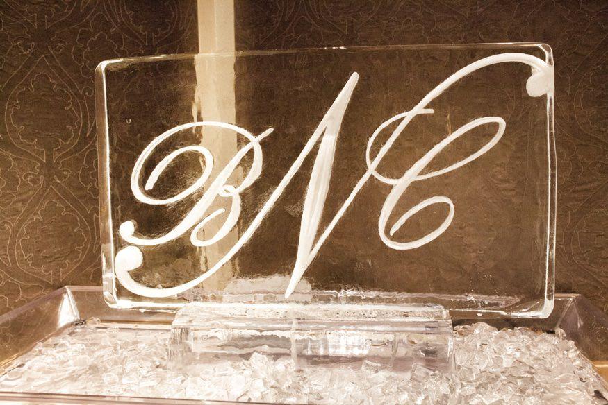 Ice sculpture from Ballroom at the Ben wedding in Philadelphia.