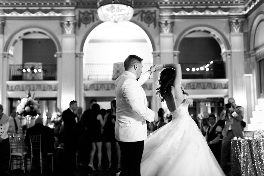 Bride and groom first dance at Ballroom at the Ben wedding.