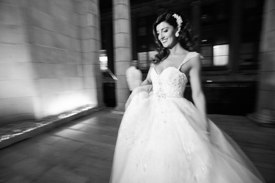 Night portraits with Bride and Groom at Ballroom at the Ben.
