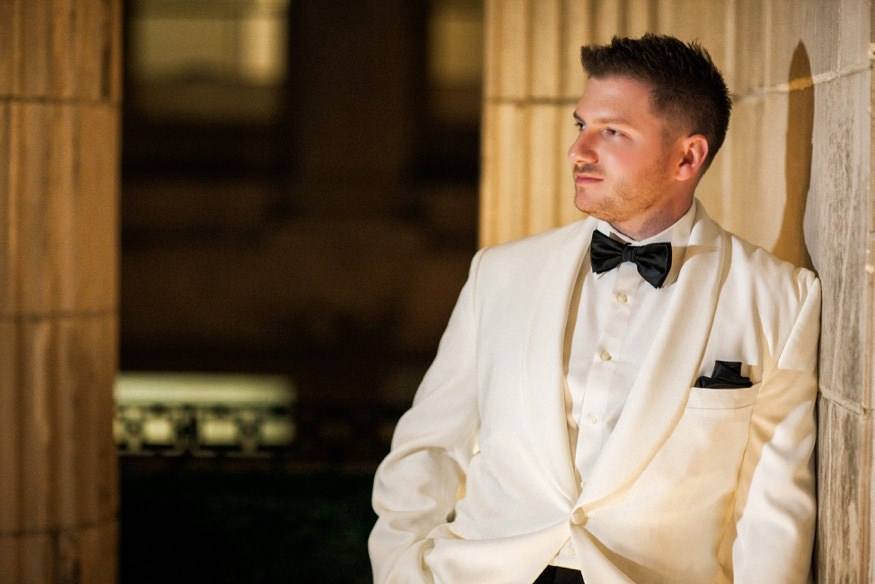 Night portraits with Groom at Ballroom at the Ben.