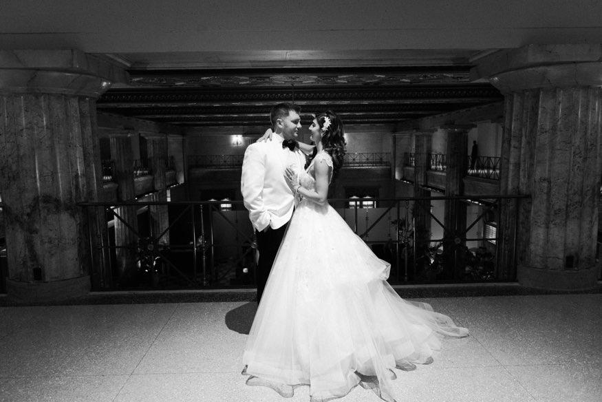 Bride and groom at Ballroom at the Ben wedding reception.