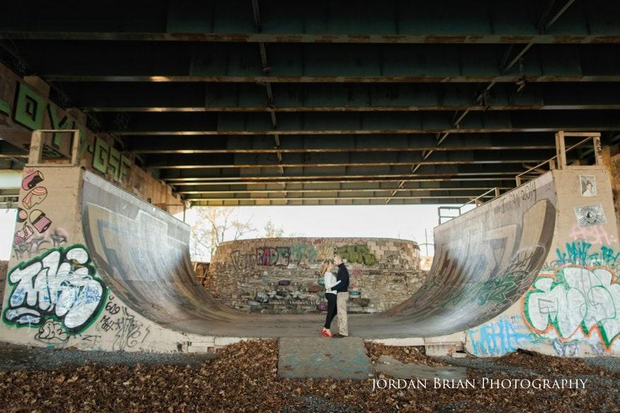 couple at skateboard park at fdr park engagement session