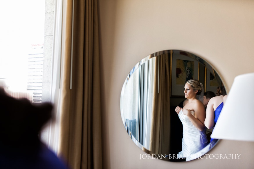 Bride getting ready at Embassy Suites Philadelphia