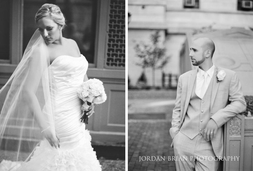 Black and white film portraits of Bride & Groom at City Hall Philadelphia