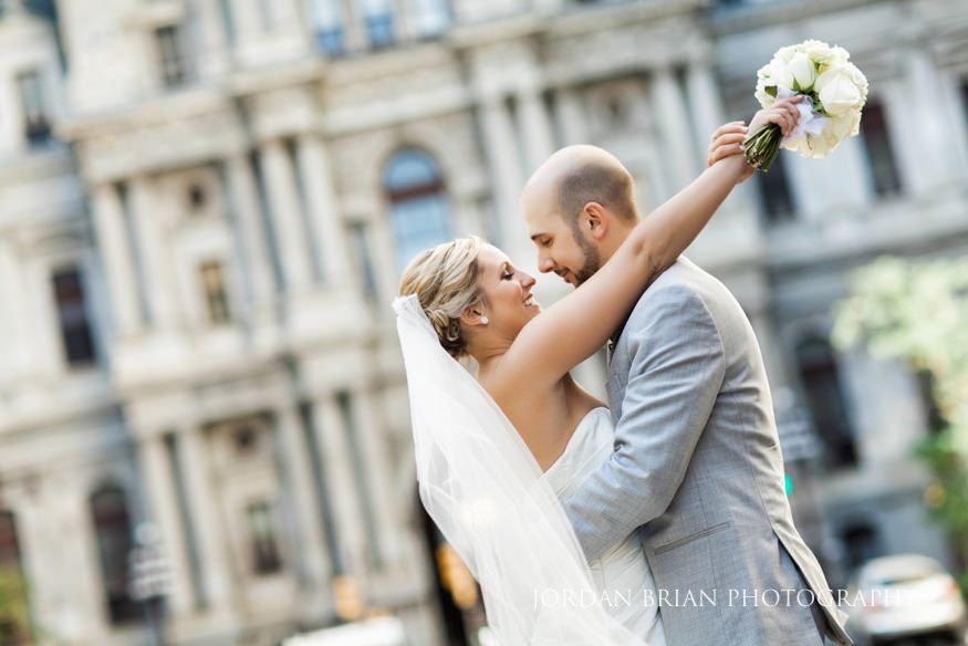 Bride and groom in front of City Hall Philadelphia