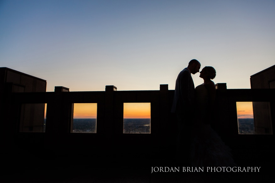 Sunset portraits of Bride and Groom at VUE on 50 wedding.