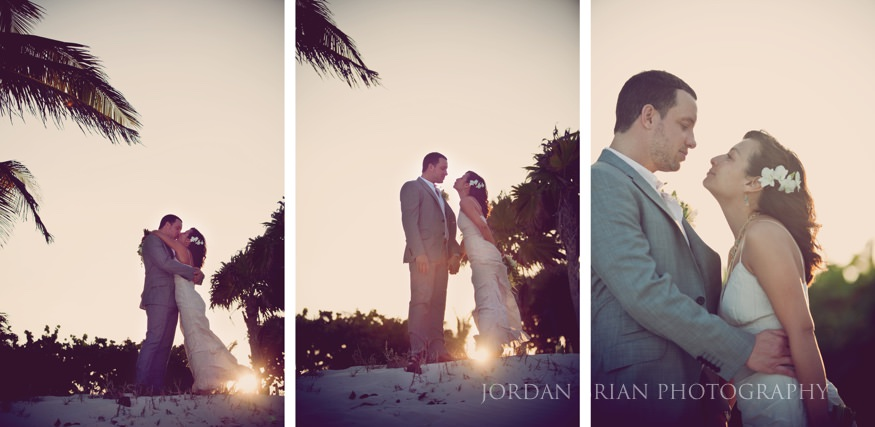 Sunset Bride and groom beach photo at Mexico Destination wedding in Playa Tulum
