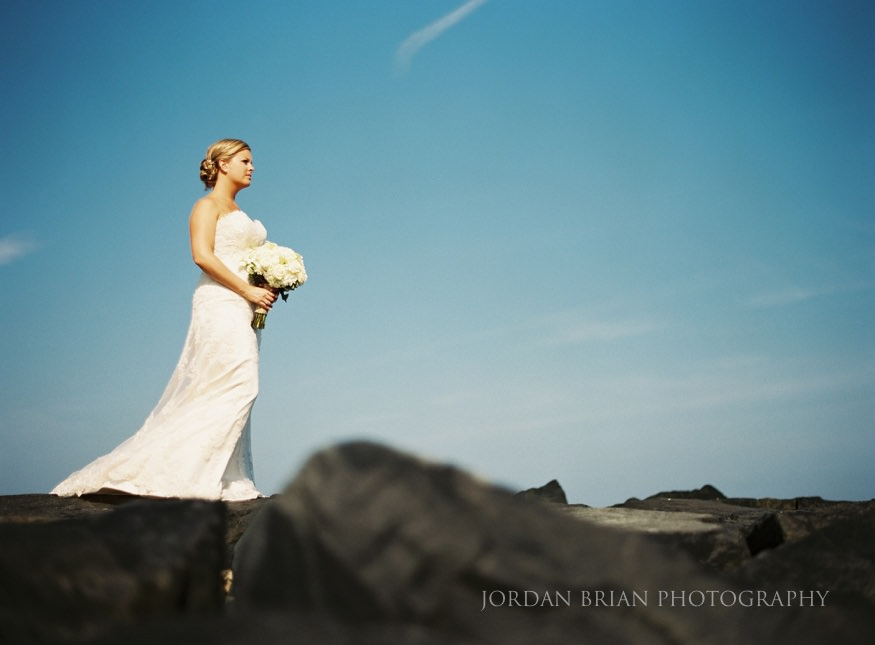 bride on jetty at ocean city wedding