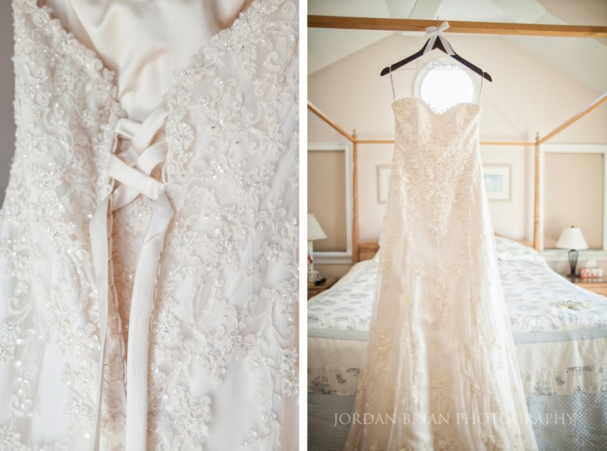 bride's dress details at ocean city wedding