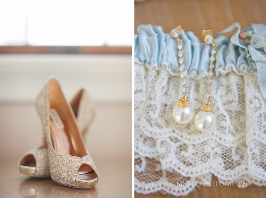 bride's earrings at ocean city wedding