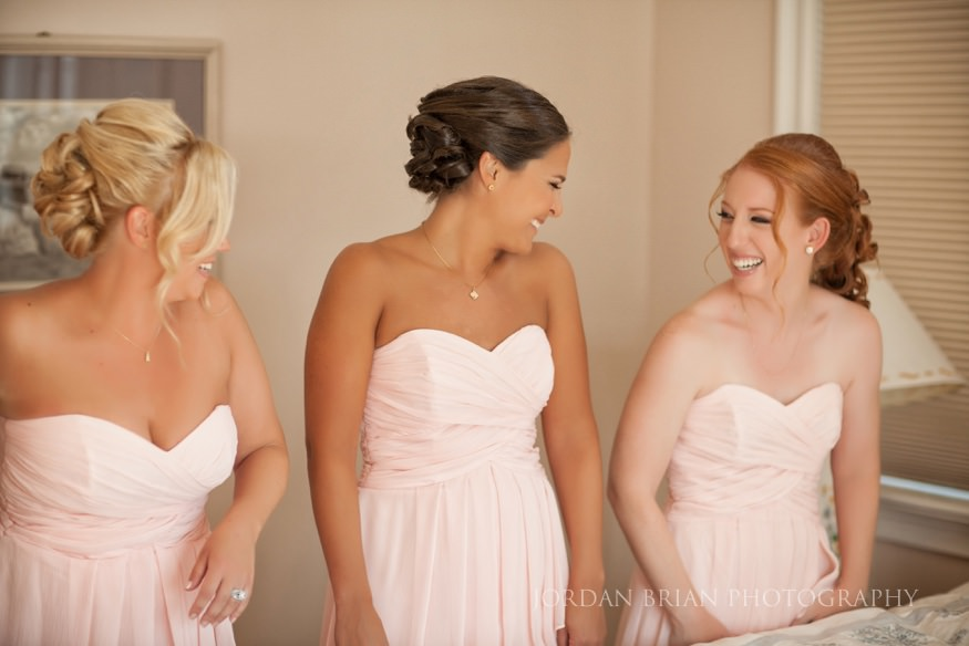 bridesmaids before the ceremony at ocean city wedding