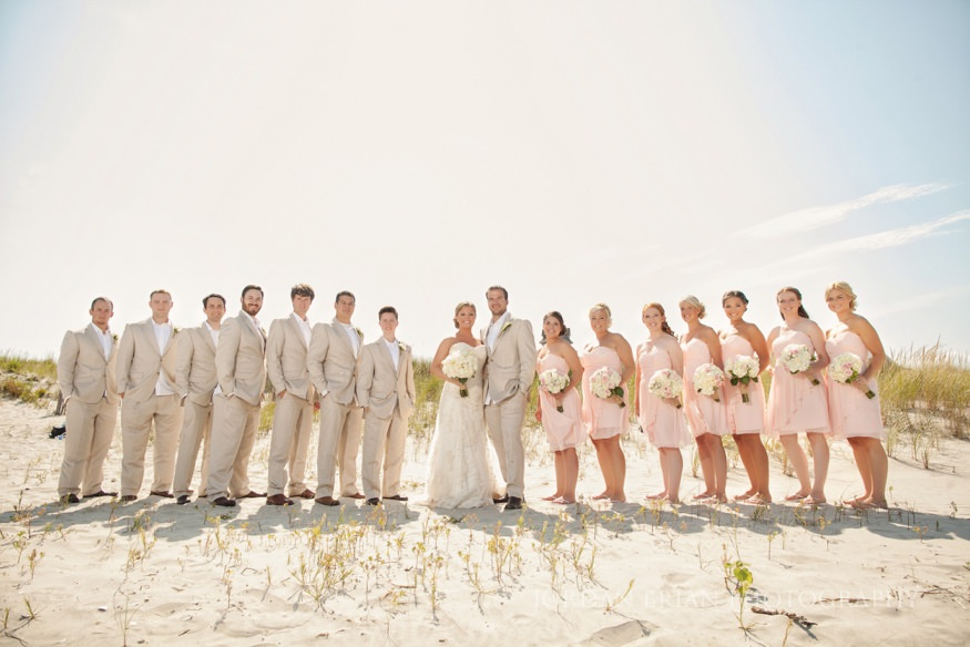 bridal party portrait on the beach at ocean city