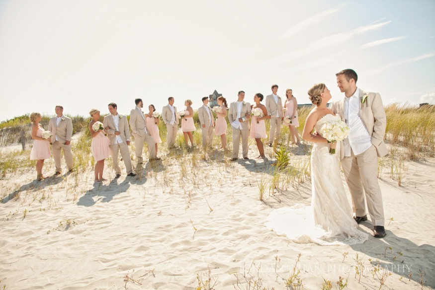 bridal party on the beach at ocean city yacht club wedding