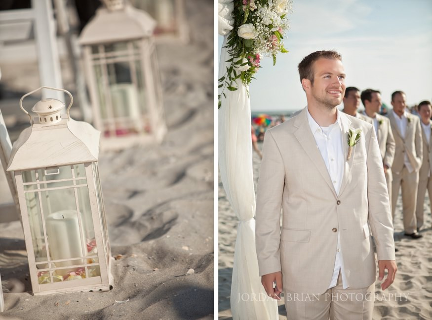 groom at beach ceremony in ocean city