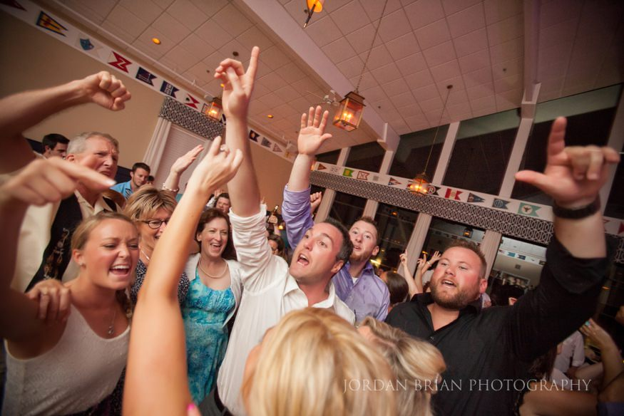 guests dancing at ocean city yacht club wedding
