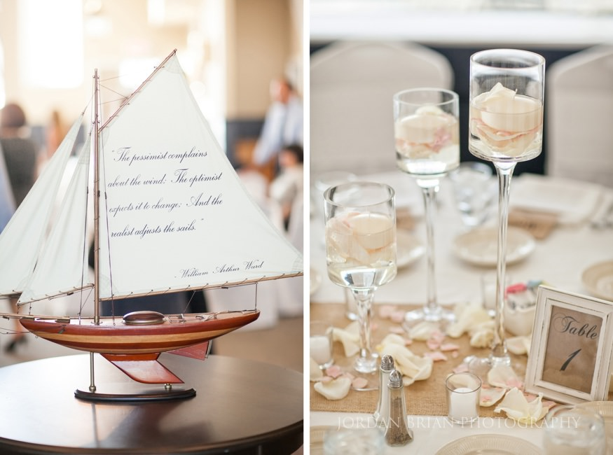 table details at ocean city beach wedding