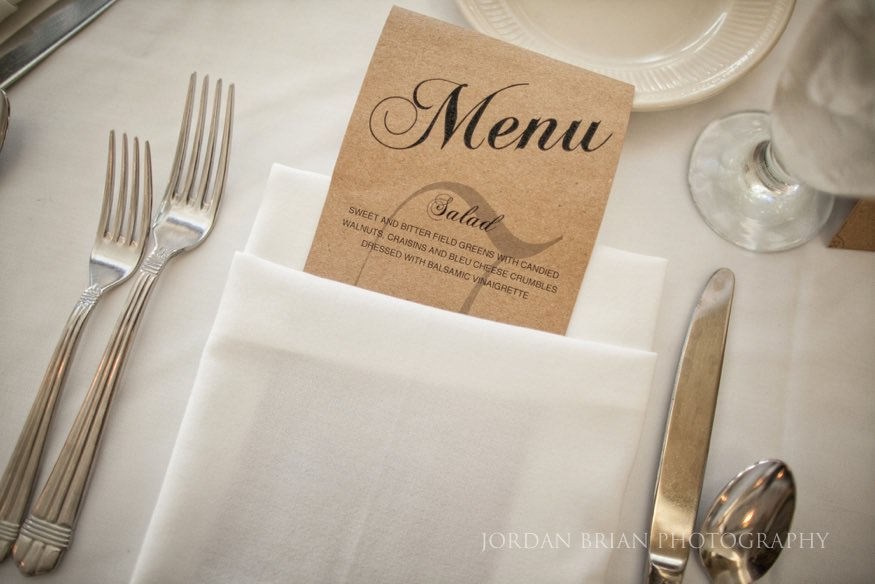 menu details at ocean city yacht club wedding