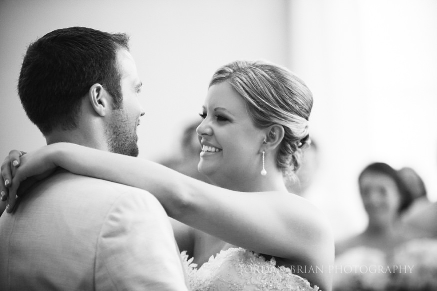 bride and groom first dance at ocean city yacht club
