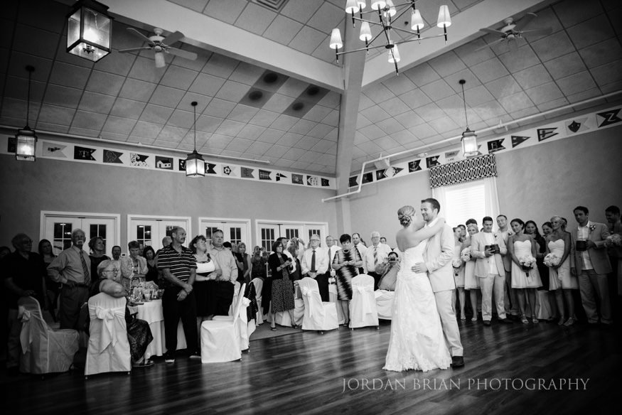 bride and groom first dance at ocean city yacht club wedding