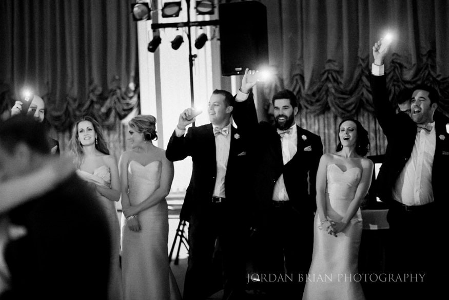 Bridal party during first dance at Ballroom at the ben.