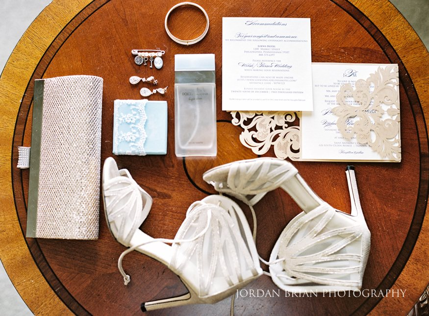 Bride's details before winter wedding in Philadelphia.
