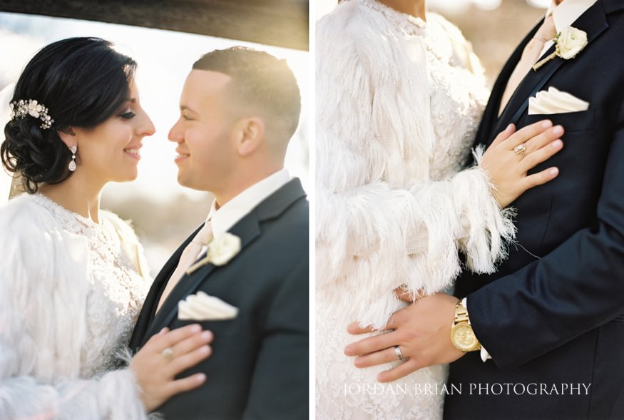 Bride and groom portraits at Cescaphe Ballroom Philadelphia Winter Wedding.