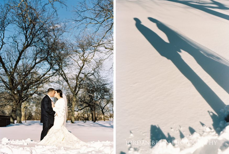 Bride and Groom in snow for Cescaphe Ballroom Philadelphia Winter wedding.