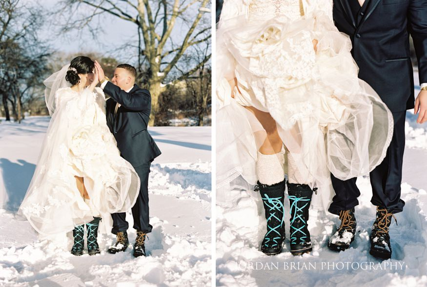 Bride and groom in the snow at Philadelphia Winter Wedding.