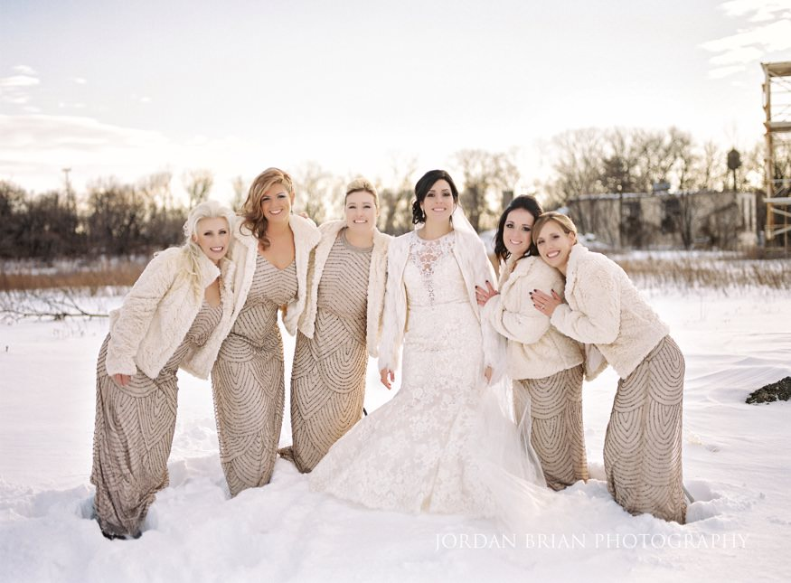 Bridesmaids portraits at Cescaphe Ballroom Philadelphia Winter Wedding