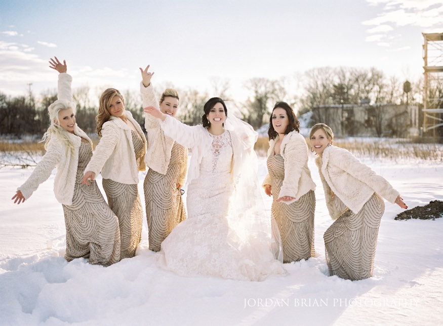 Bridesmaids portraits at Cescaphe Ballroom Philadelphia Winter Wedding.