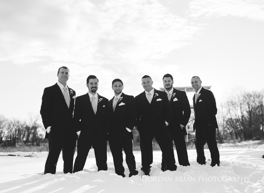 Groomsmen portraits at Cescaphe Ballroom Philadelphia Winter Wedding