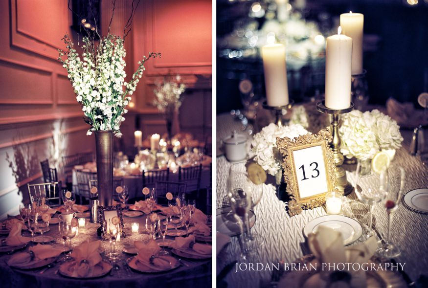 Table details at Cescaphe Wedding philadelphia.