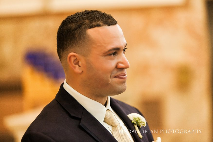 Groom seeing Bride walk down aisle at St Anthony Church in NJ.