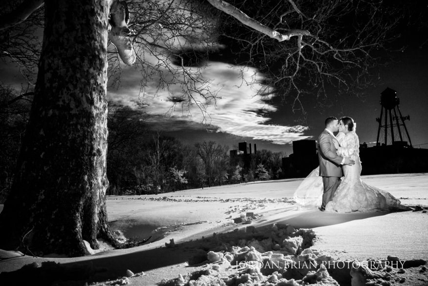 Infrared portraits of Bride and Groom before Cescaphe Ballroom Philadelphia Winter Wedding.