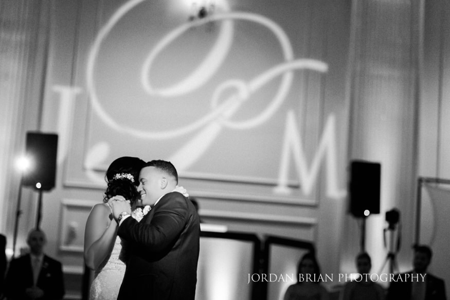 Bride and Groom first dance at Cescaphe Ballroom Wedding.