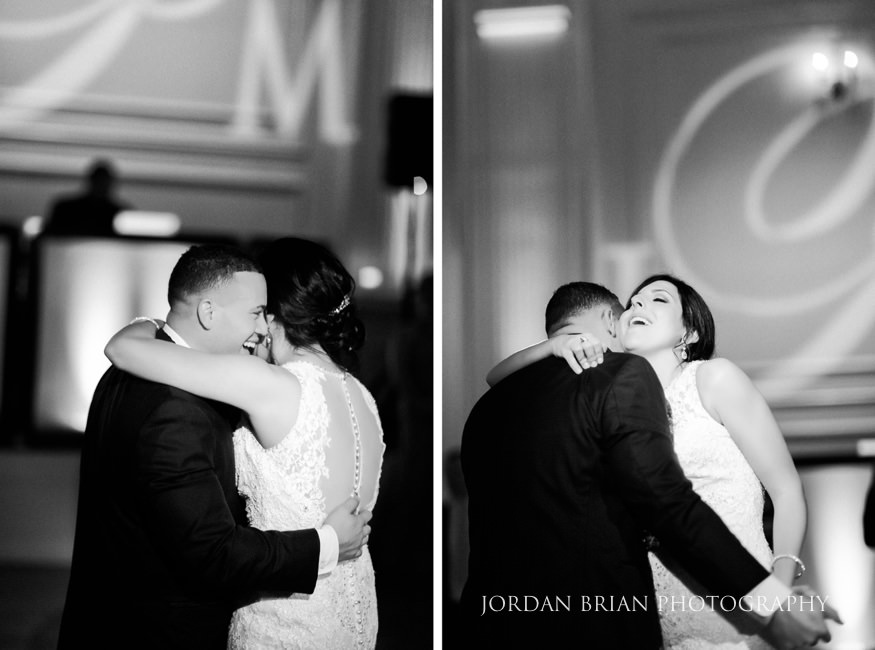 Bride and Groom first dance at Cescaphe Ballroom Philadelphia Winter Wedding.