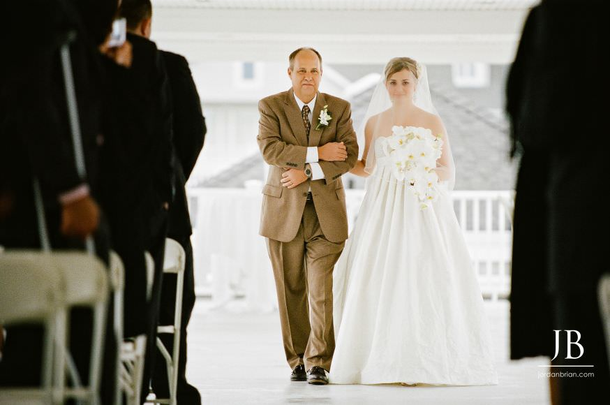 Spring Lake Bath and Tennis Club wedding ceremony bride walking down isle