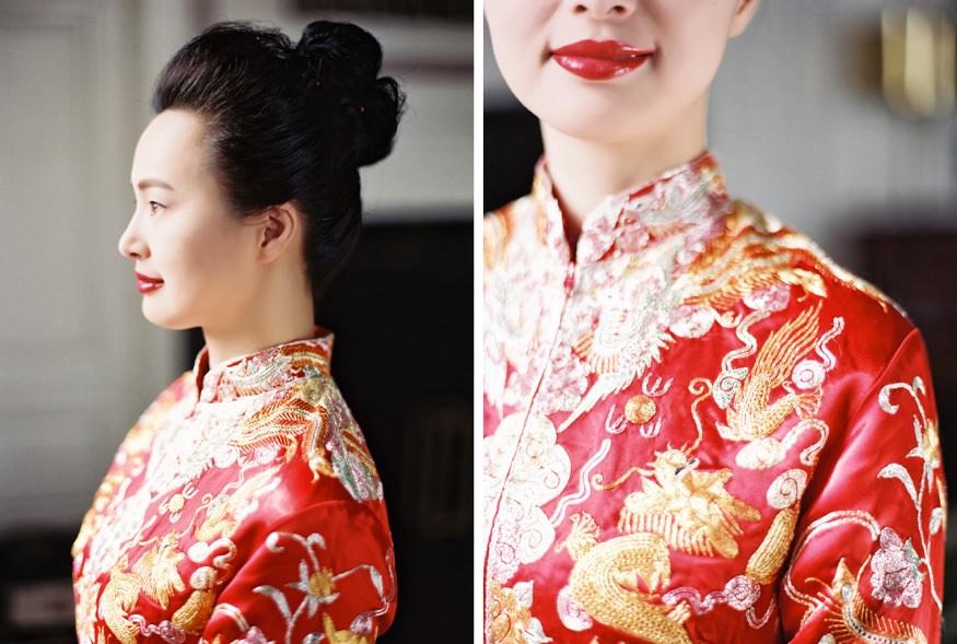 Bride in Tradtional Chinese wedding dress at Chinese Philadelphia Wedding.