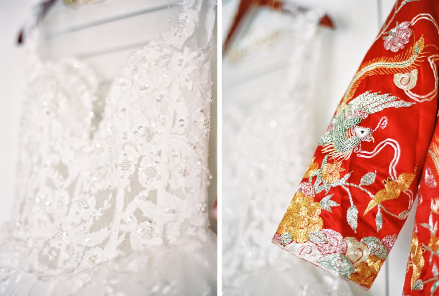American and Traditional Chinese wedding dresses at Chinese Philadelphia wedding.