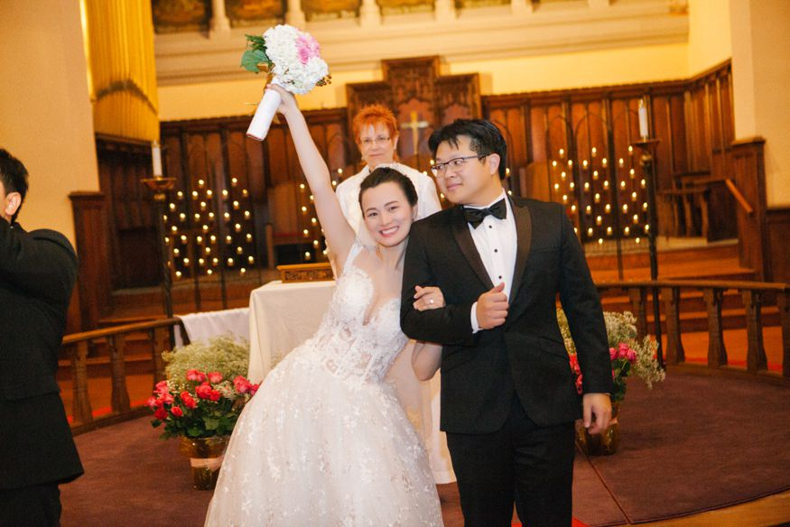 Ceremony at Trinity Center for Urban Life for Chinese Philadelphia wedding.