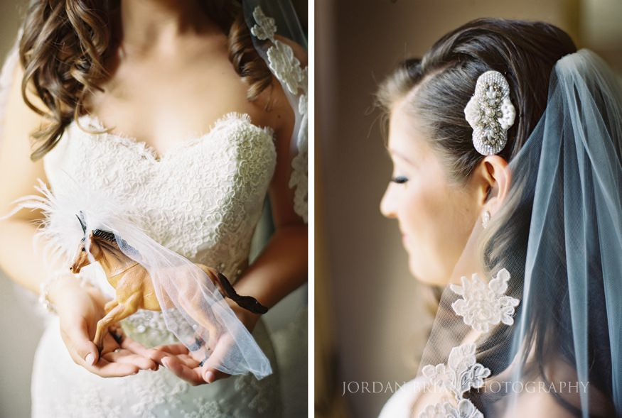 details of bridals dress and veil