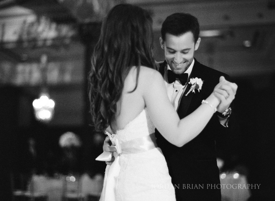 bride and groom first dance at crystal tea room