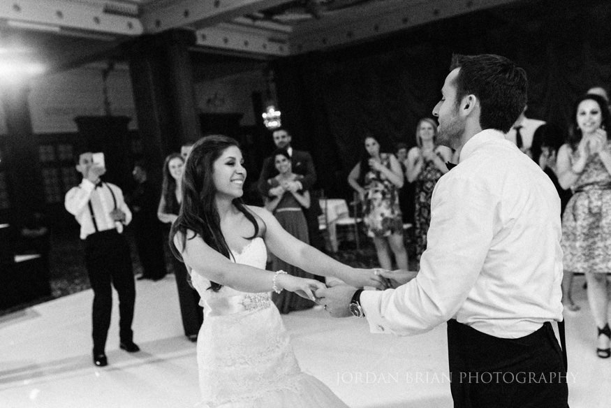 bride and groom dance at wedding reception