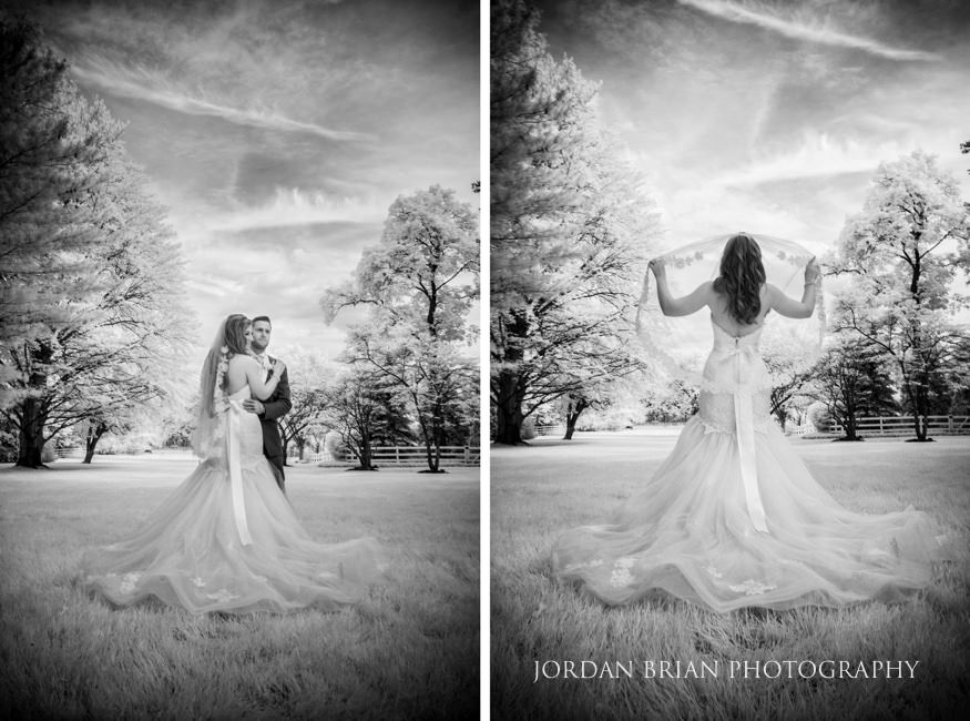 infrared portrait of bride and groom