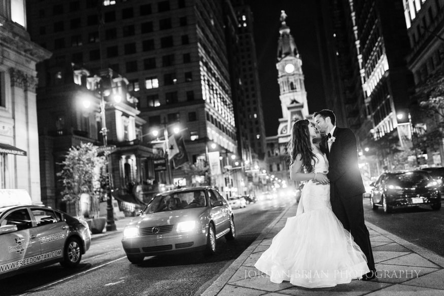 bride and groom night portraits in philadelphia city hall
