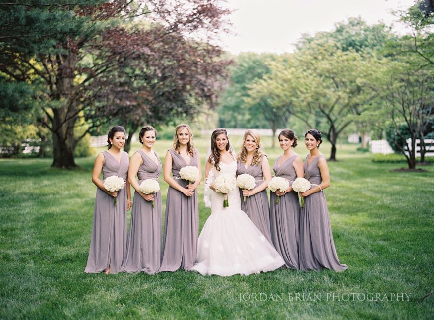 bride and bridesmaids portraits in moorestown nj